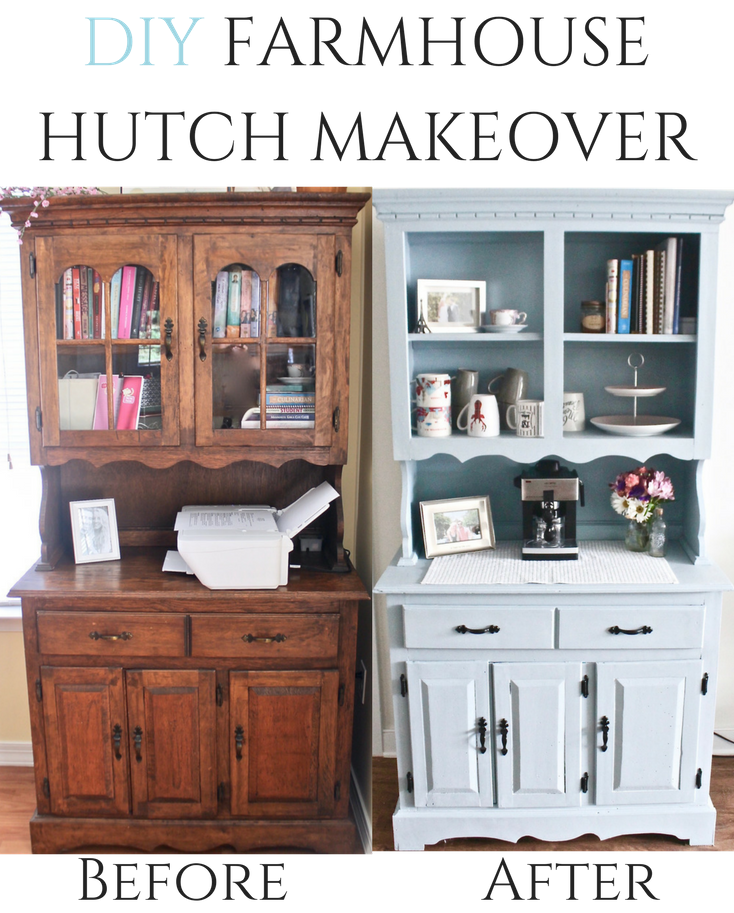 DIY Wood Hutch Makeover Before And After Using Valspar Chalk Paint Farmhouse Diyproject
