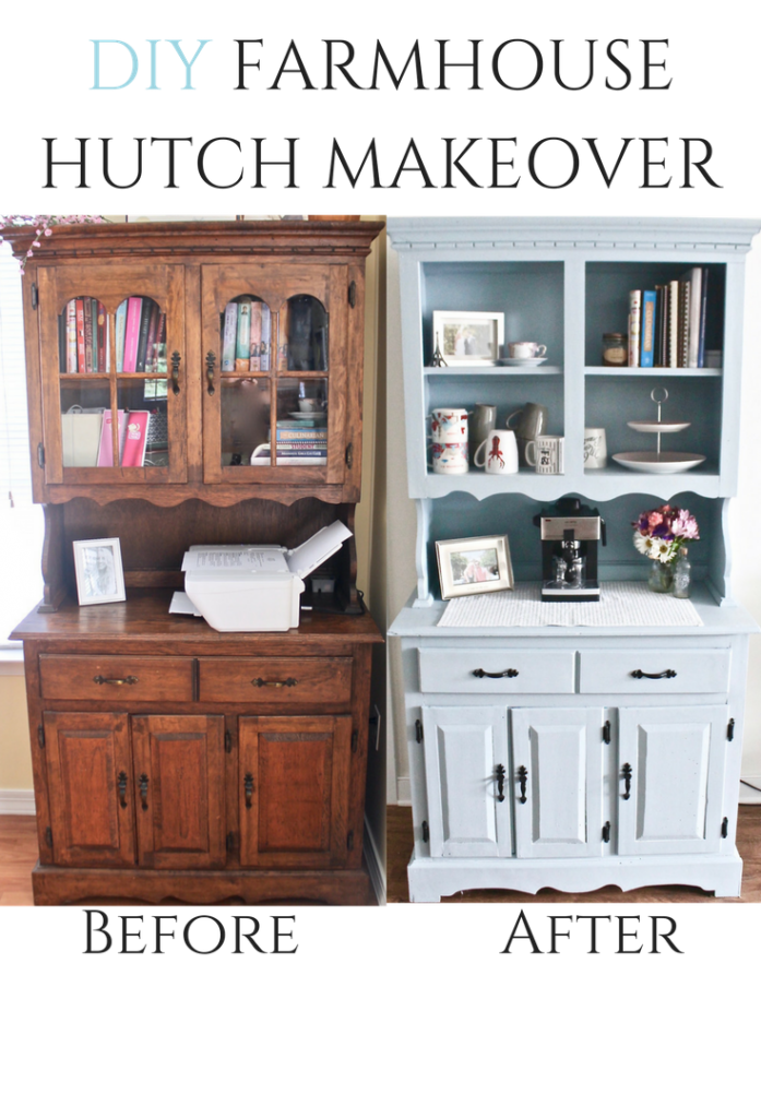 DIY Wood Hutch Makeover Before And After Using Valspar Chalk Paint #farmhouse #diyproject #chalkpaint #spraypaint #hardware
