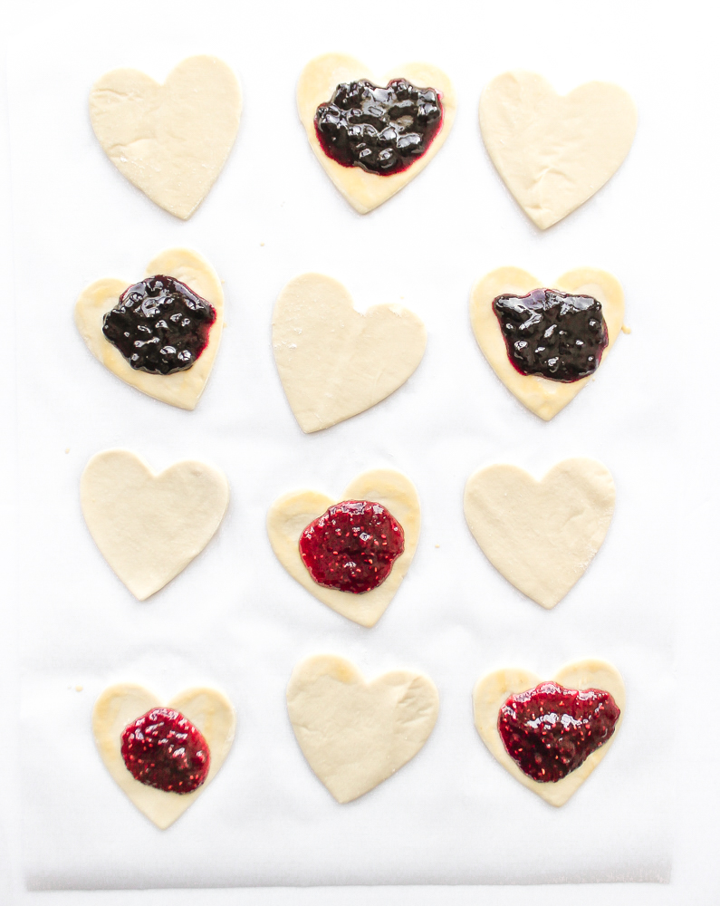 Heart Shaped Fruit Puff Pastries valentines day dessert recipe jam filled