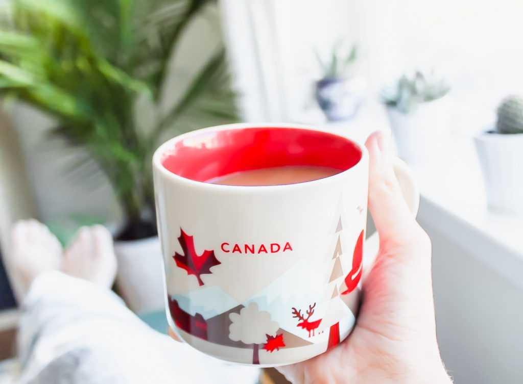 Life as a Canadian in the US. Canada Starbucks mug.