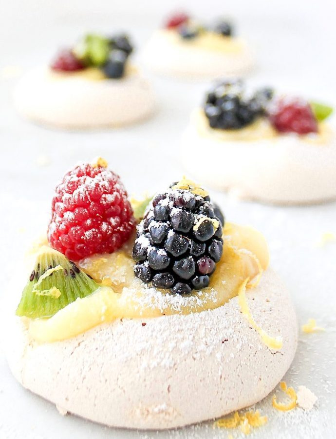 Mini Berry Pavlovas with Whipped Mascarpone and Lemon Curd.