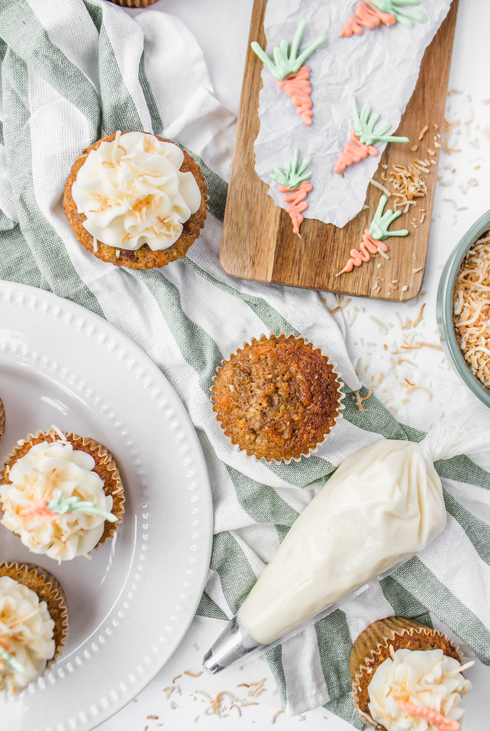 Carrot Cake Cupcakes white chocolate toasted coconut dessert recipe tutorial