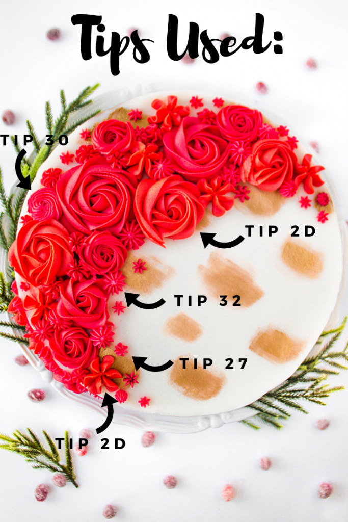 Cranberry Orange Christmas Layer Cake Tutorial Buttercream Flowers Tip Guide