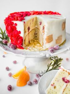 Cranberry Orange Christmas Layer Cake Tutorial Buttercream Flowers