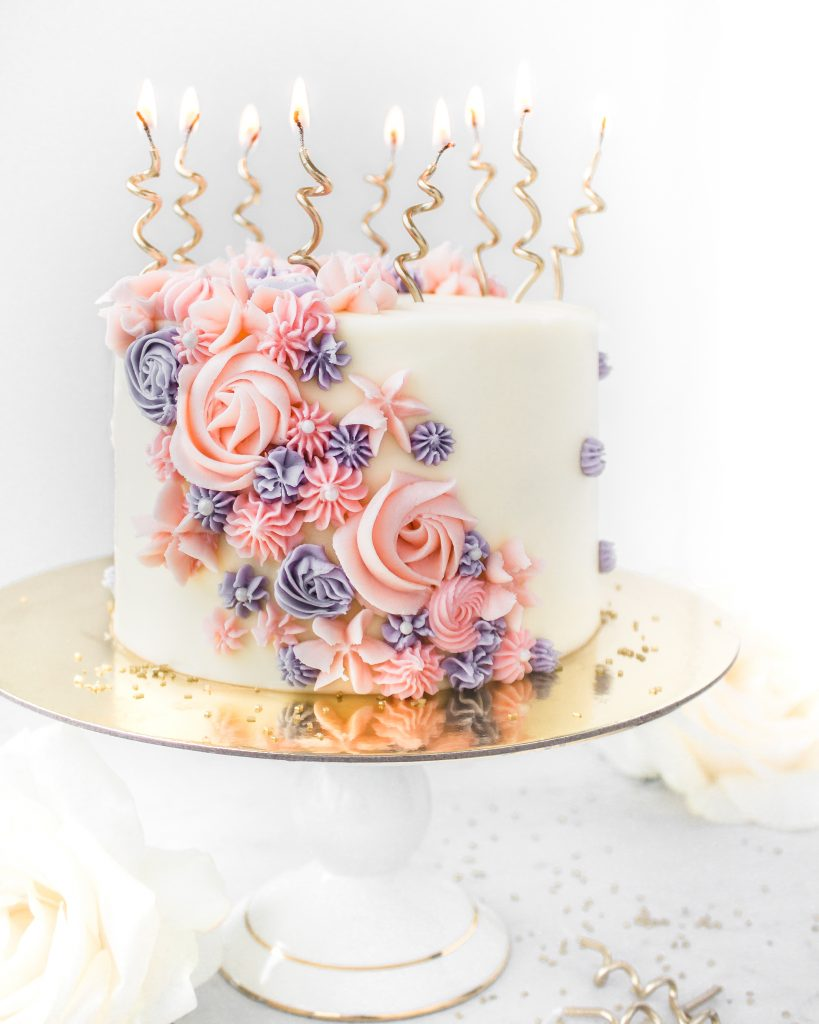 Buttercream flower birthday cake candles