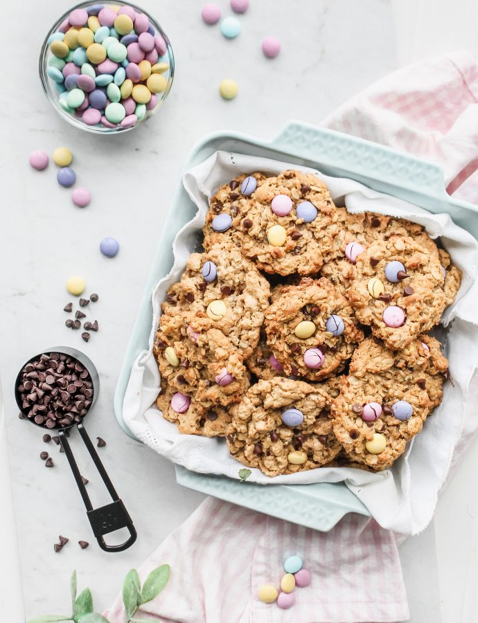 Chewy Peanut Butter Oatmeal Easter Cookies
