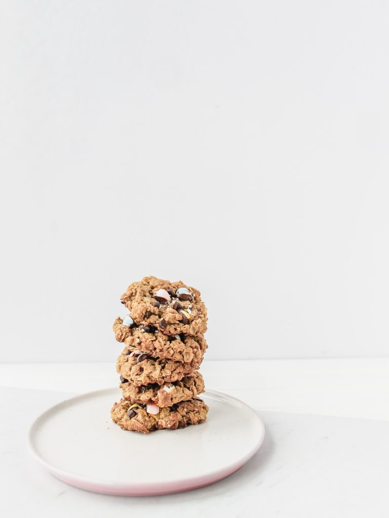 Flourless Gluten Free Peanut Butter Oatmeal Cookies with Easter Mini Eggs Chocolate