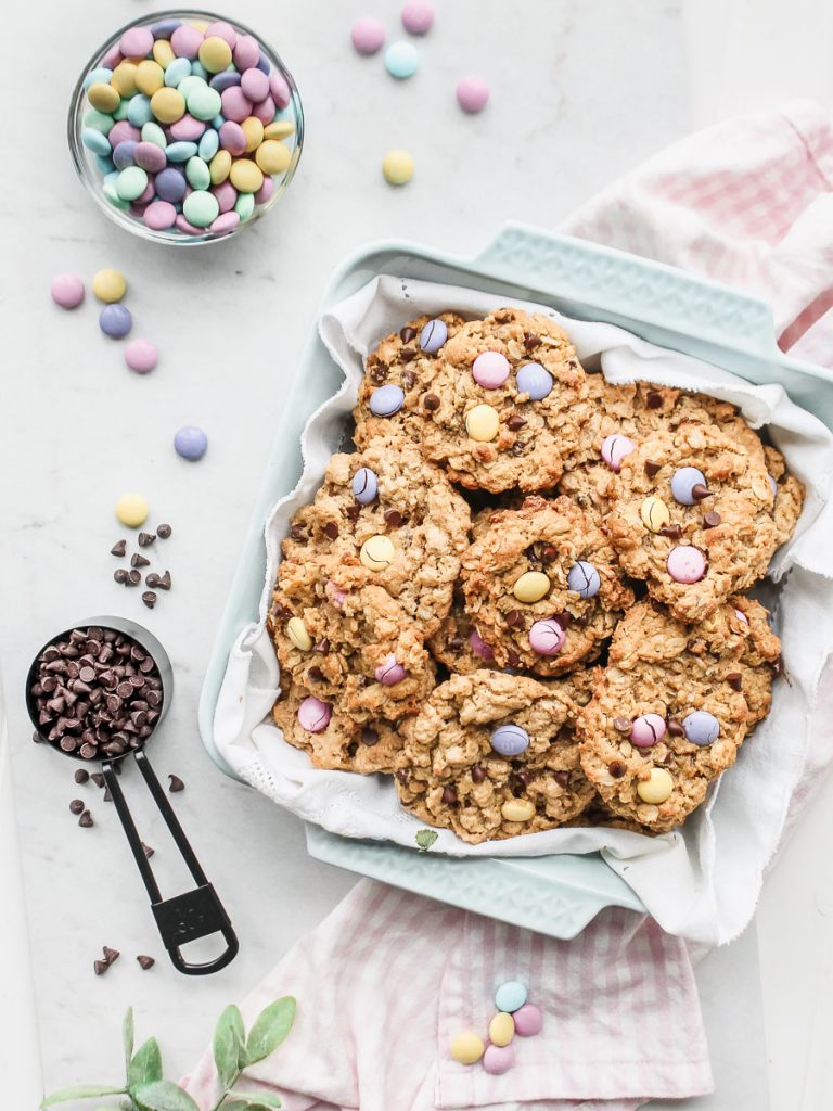 Flourless Gluten Free Peanut Butter Oatmeal Cookies with Easter Pastel M&Ms Chocolate