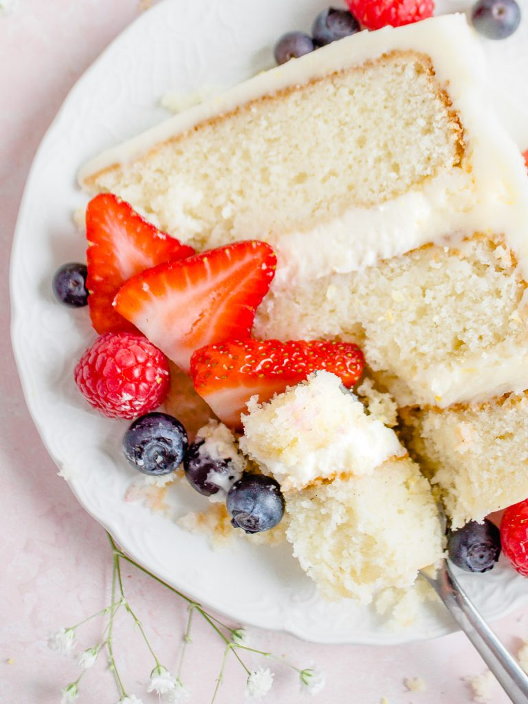 Vanilla Butter Cake with Lemon Cream and Berries