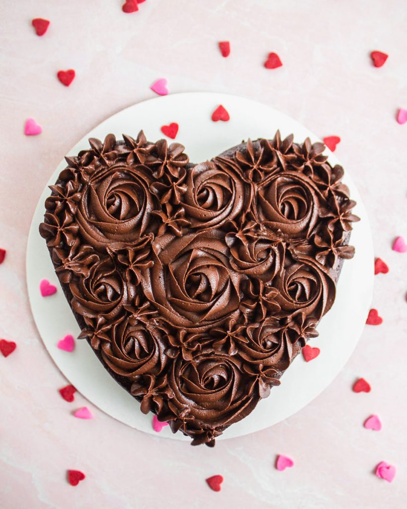 Valentine's Day Chocolate Cake Frosting Decorating