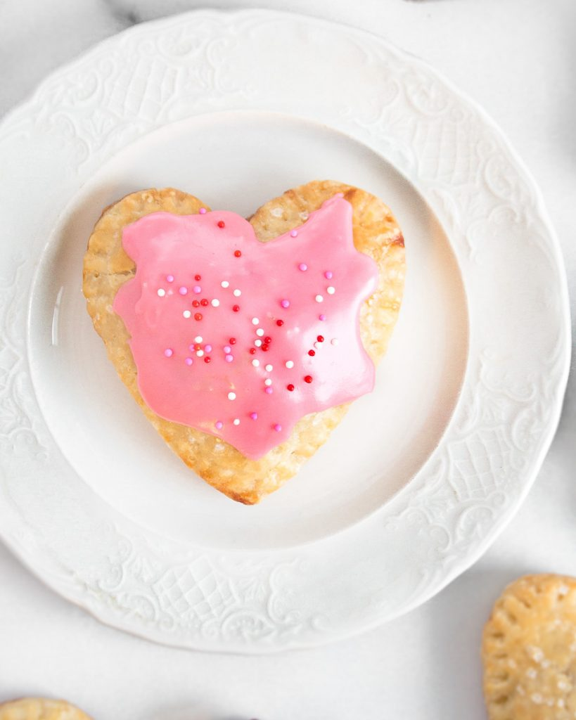 Valentines Heart Shaped Strawberry Hand Pies