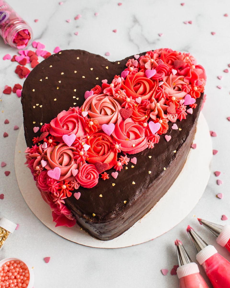 Valentine S Day Chocolate Cake Tutorial Flour Floral