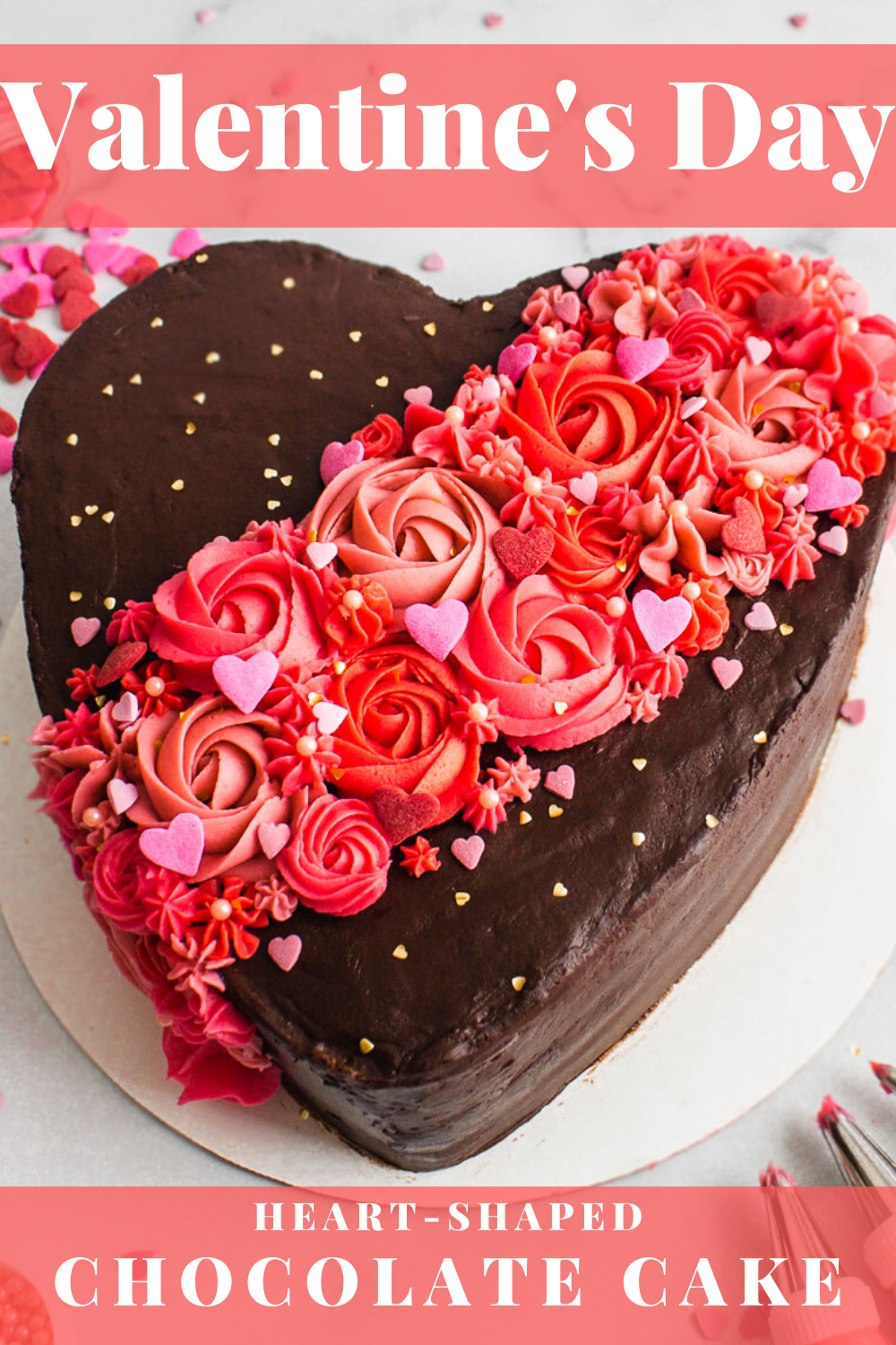 Valentine S Day Chocolate Cake Tutorial Flour Floral