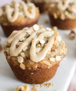 Banana Oatmeal Muffins with Maple Cinnamon Glaze