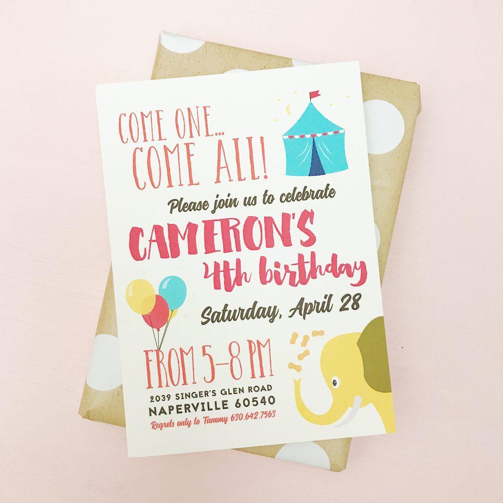 kids elephant birthday invitation