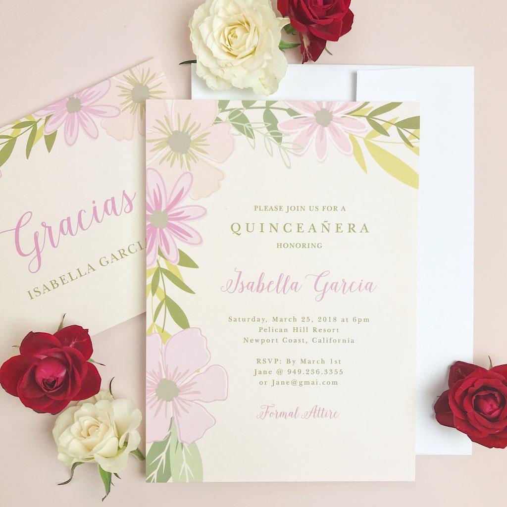 floral birthday invites