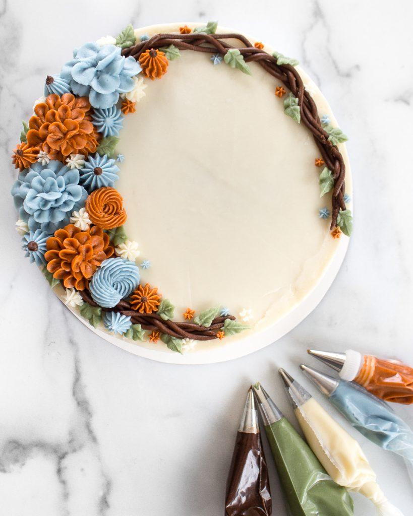 Buttercream Autumn Wreath Cake