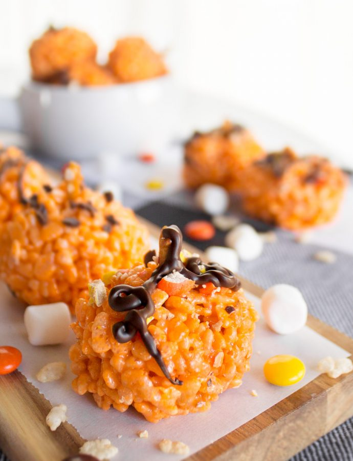 Halloween Rice Krispie Pumpkin Treats